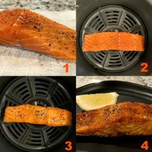 step by step instructions for making salmon in the air fryer