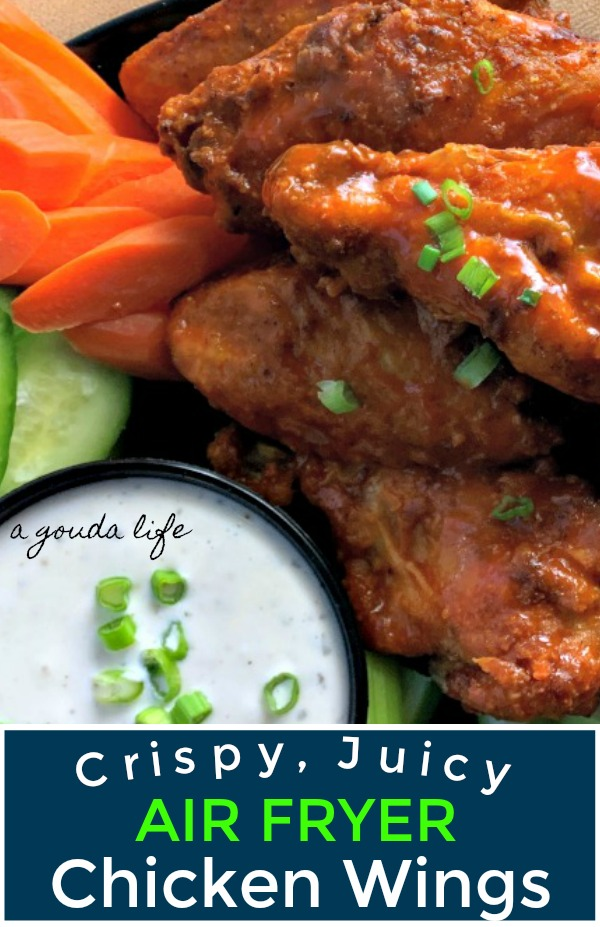 pinterest pin showing air fryer chicken wings and ranch for dipping