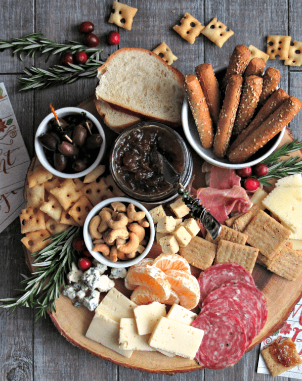 Cheese and Charcuterie Board ~ meats, cheeses, bread, fruit and nuts. Easy, stress-free entertaining ~ something for every appetite.