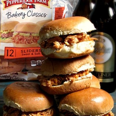Beer Braised Chicken Sliders