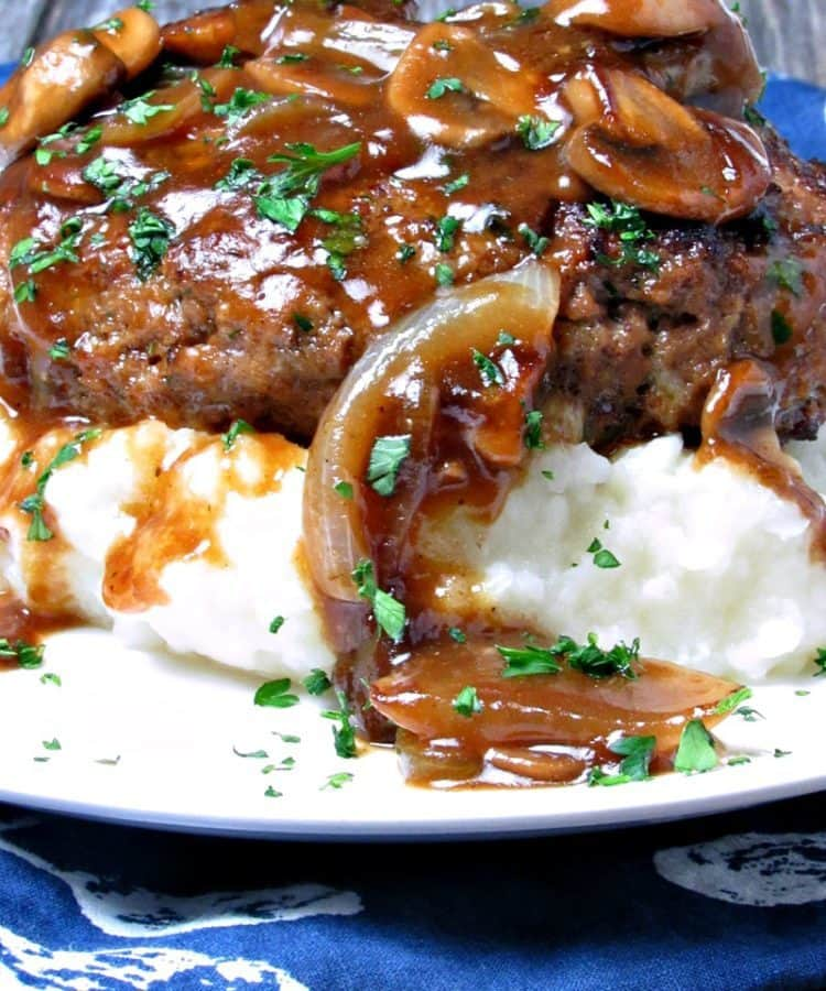 Best salisbury steak beef patties in mushroom onion for Best gravy for lamb