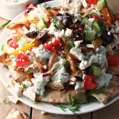 Greek Chicken Pita Nachos