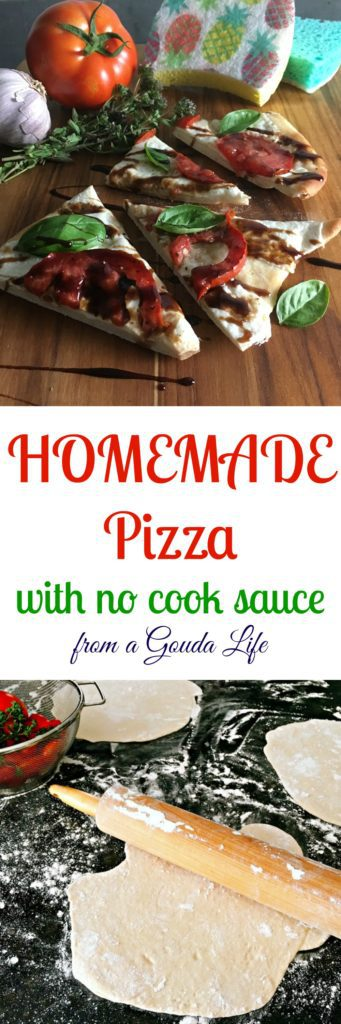 Tasty, authentic Homemade Pizza including dough and no-cook tomato sauce. Cleanup is easy with the help of ocelo™ no-scratch scrub sponges.