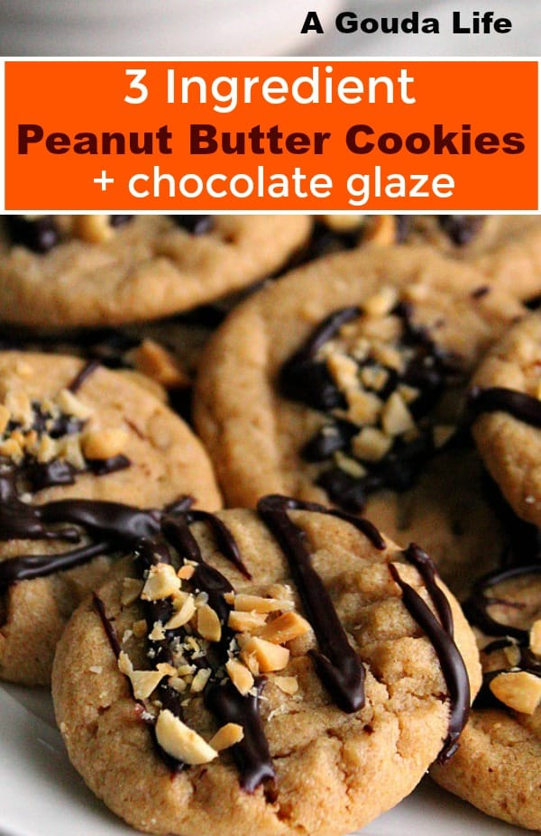 pin for pinterest - close up of peanut butter cookies drizzled with chocolate and crushed nuts