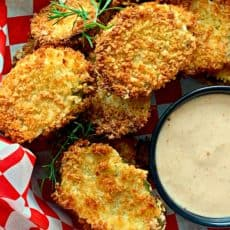 Air Fryer Fried Pickles ~ how to make fried pickles in an air fryer. Crunchy, crispy breaded dill pickles air fried and served with a creamy, spicy sauce.