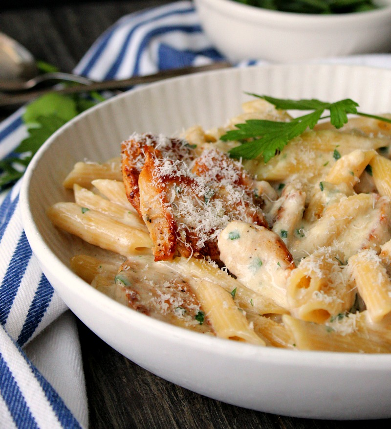 white bowl with penne pasta, alfredo sauce and chicken