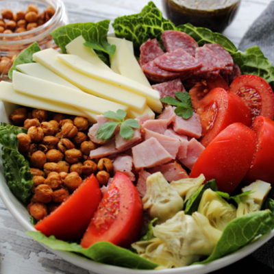 closeup of antipasto salad in bowl