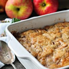 easy apple cobbler loaded with fresh apples covered with a simple cake-like topping
