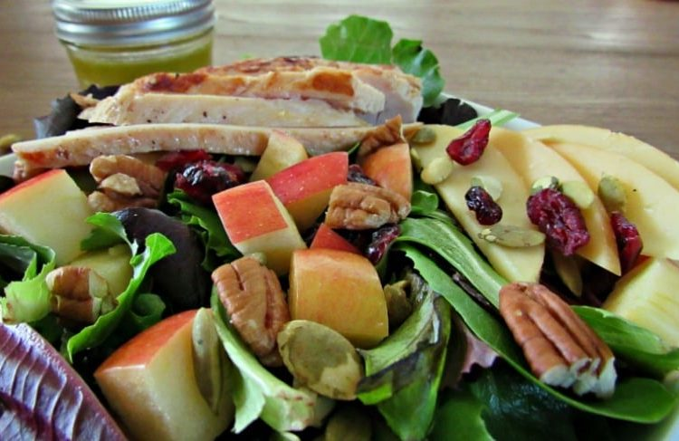 Apple Harvest Salad-great side salad~mixed greens, Gouda, dried cranberries, pecans, pepitas and homemade dressing or add baked chicken for a great meal.