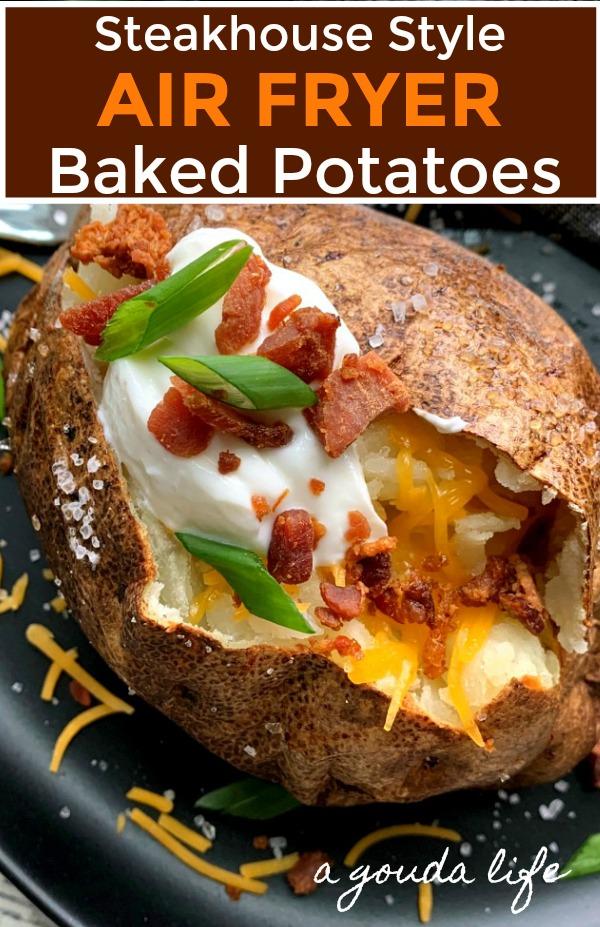 pinterest pin for air fryer baked potatoes