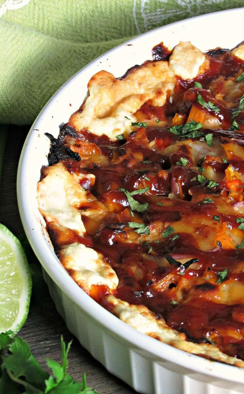 BBQ Chicken Pizza Dip ~ tender tasty bites of barbecue chicken, gooey melted cheeses scooped with warm bread. Everything you love in the classic pizza in dip form.