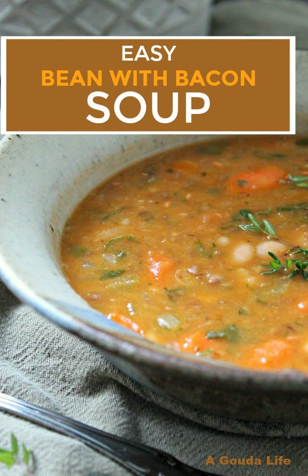 bean with bacon soup ~ pin for pinterest ~ bowl of soup garnished with fresh thyme