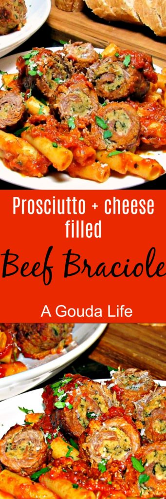 Beef Braciole ~ thin slices of beef filled with breadcrumbs, cheese, prosciutto and fresh herbs, rolled then braised in Prego Farmers' Market® sauce.