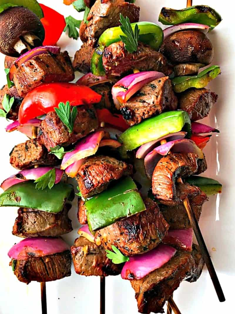 beef kabobs ~ a marinade of simple, everyday flavors that locks in delicious, bold taste. Grill with bell peppers, onions and mushrooms for a whole meal on a skewer.