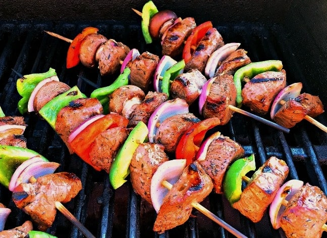 beef kabobs - skewered beef and vegetable kabobs on the grill