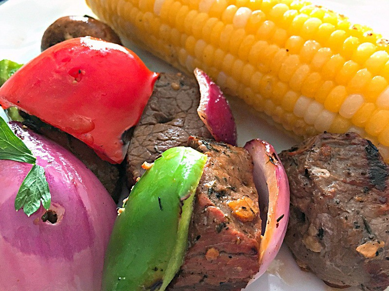 Beef Kabobs-tender, juicy beef marinated for delicious, robust flavor combined with bell peppers, onions and mushrooms grilled for an easy meal on a skewer.