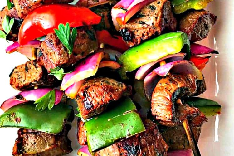 Grilled Steak Kabobs with red onion + bright red and green peppers