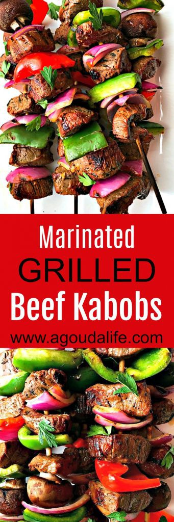 beef kabobs ~ marinated grilled beef and vegetable kabobs