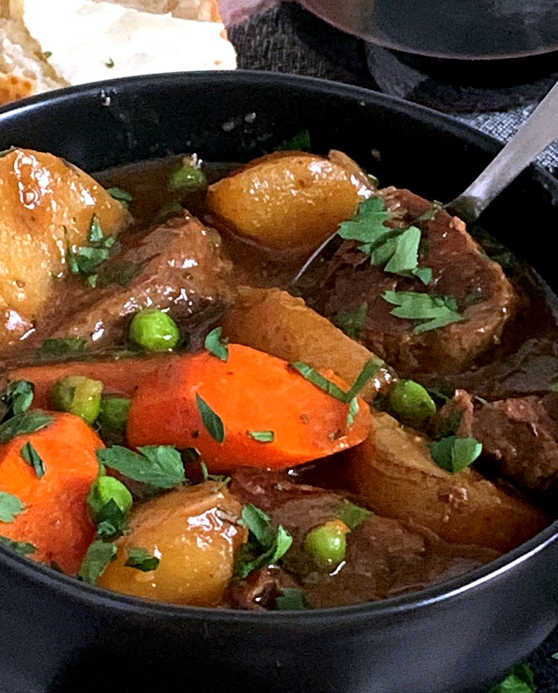 Slow Cooker Beef Stew in black bowl