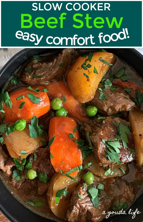 pinterest pin with overhead view of bowl of beef stew