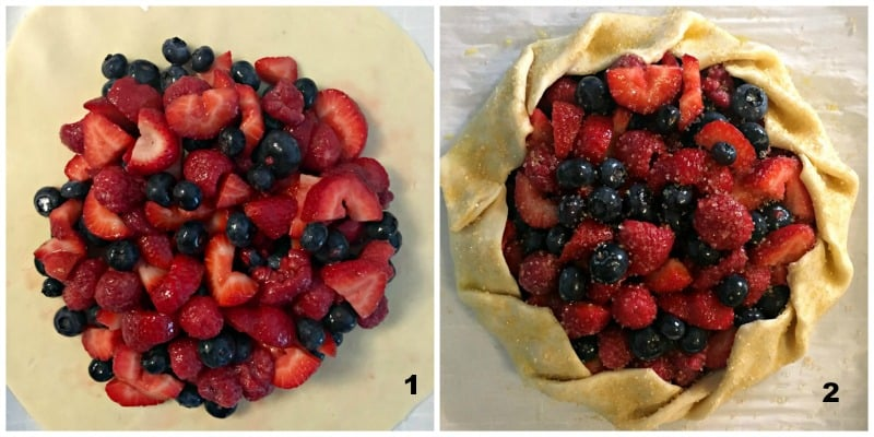 grid showing fruit in the center of the dough, then sides of dough folded around the fruit