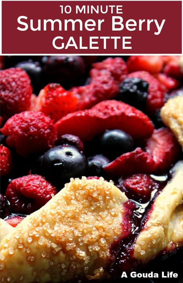 pinterst pin showing closeup of berry galette and berry juices trickling over the edge