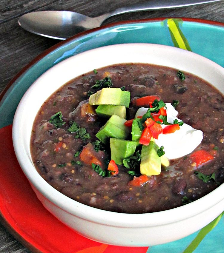 Easy Black Bean Soup recipe ~ 5 ingredients, stove to table in 20 minutes. Loaded with flavor, protein and fiber, a delicious healthy any-night meal.