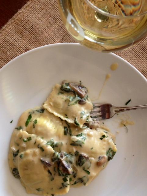 Mushroom Ravioli with Alfredo Florentine Sauce