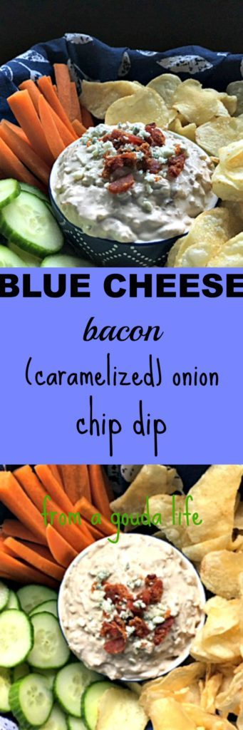 Blue Cheese Bacon Caramelized Onion Dip: tangy sour cream, sweet caramelized onions, bacon and the bold sharpness of blue cheese. What every party needs.
