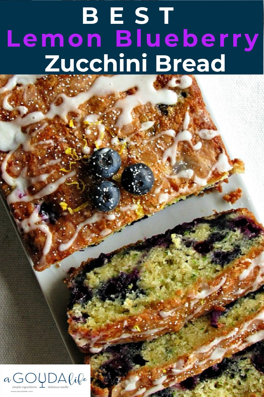 overhead view of glazed, sliced lemon blueberry zucchini bread
