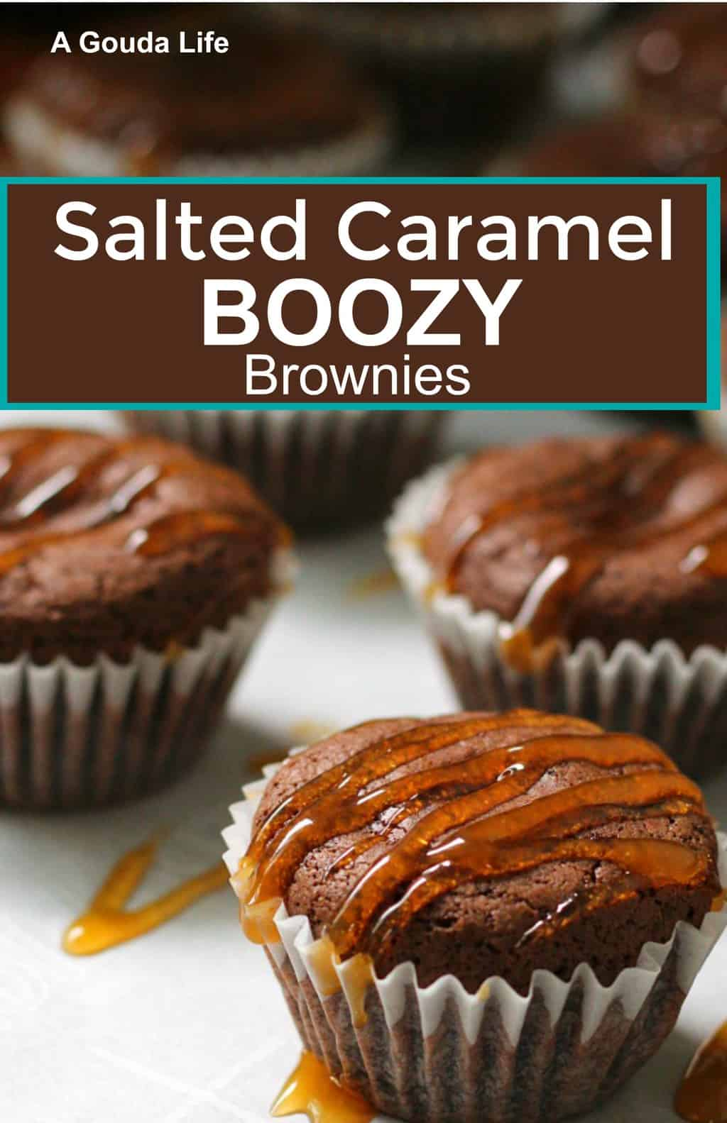 Salted Caramel Boozy Brownies ~ fudgy boozy brownies drizzled with salted caramel. Starts with a box mix, ready for the oven in 5 minutes.