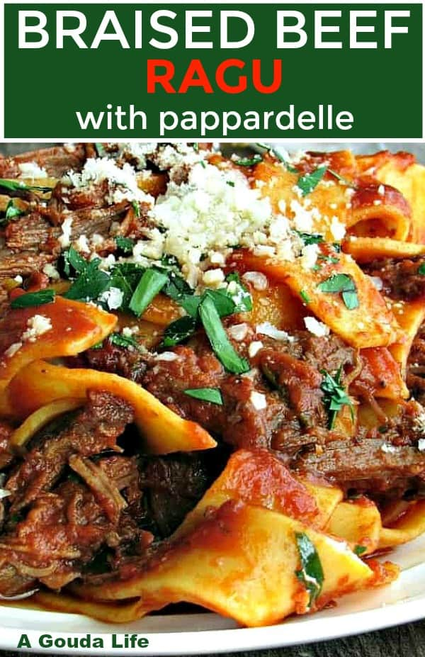 pinterest pin showing plate of pappardelle pasta blended with red sauce and shredded beef topped with grated parm.