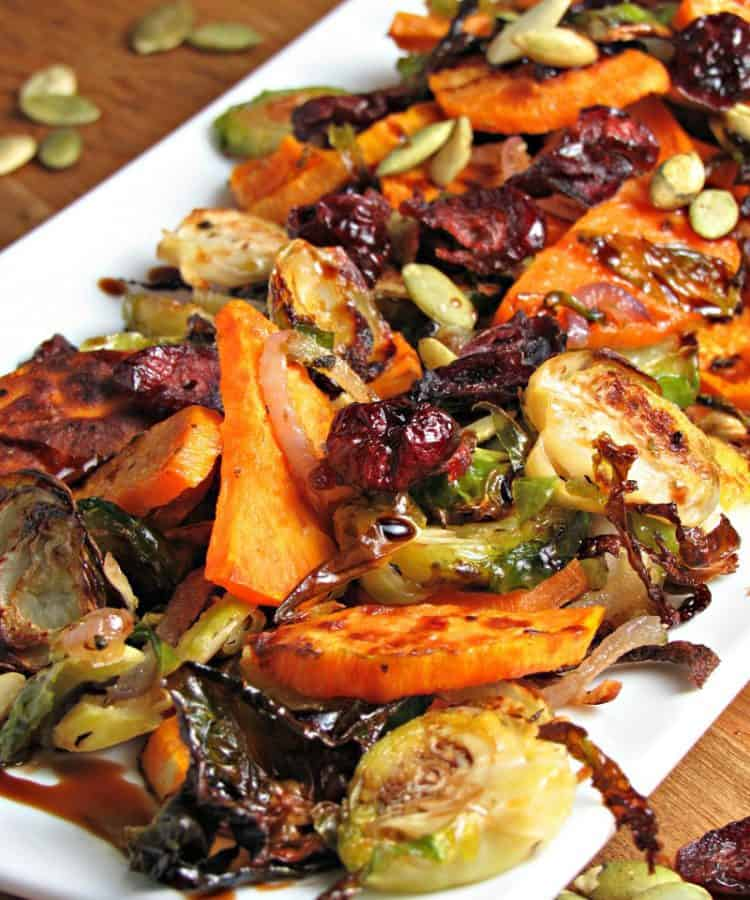 blend of fall vegetables on white platter