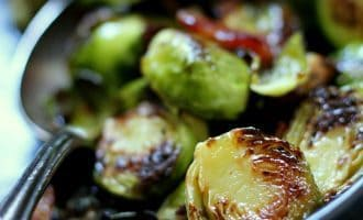 maple bacon brussels sprouts ~ pan seared brussels sprouts and applewood smoked bacon in a savory-sweet maple, french mustard glaze.