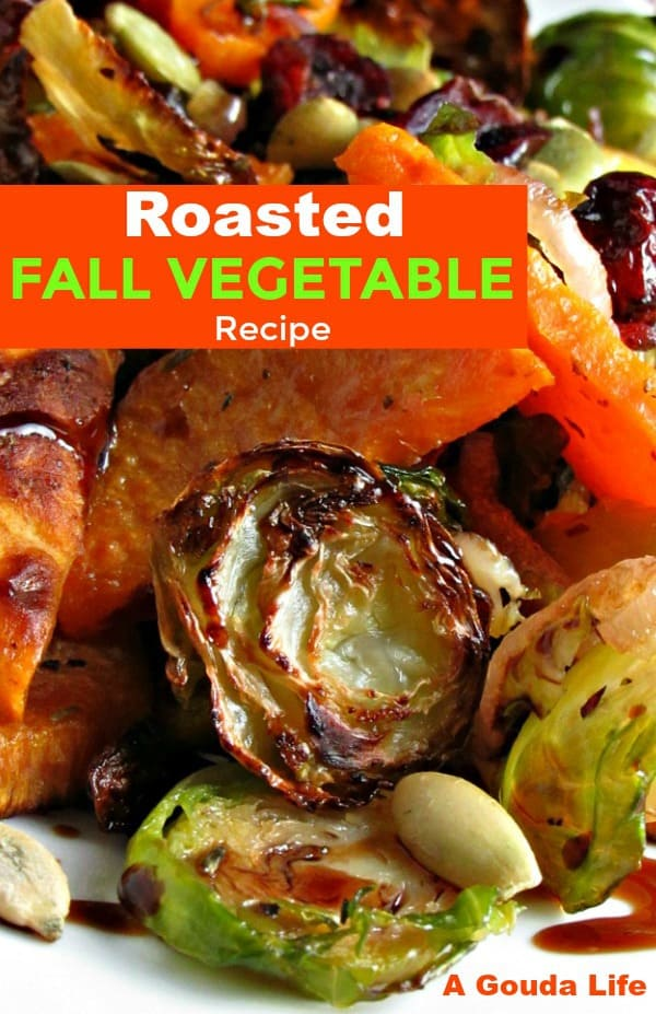 Roasted Brussels Sprouts Sweet Potato Medley ~ roasted veggies drizzled with balsamic glaze topped with dried cranberries & pepitas.