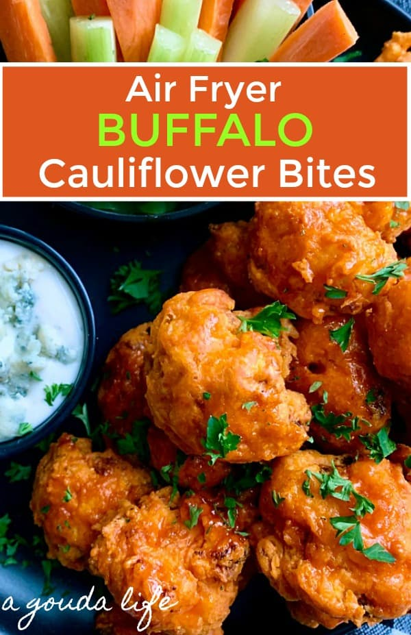 plate of air fryer buffalo cauliflower bites served with ranch dip