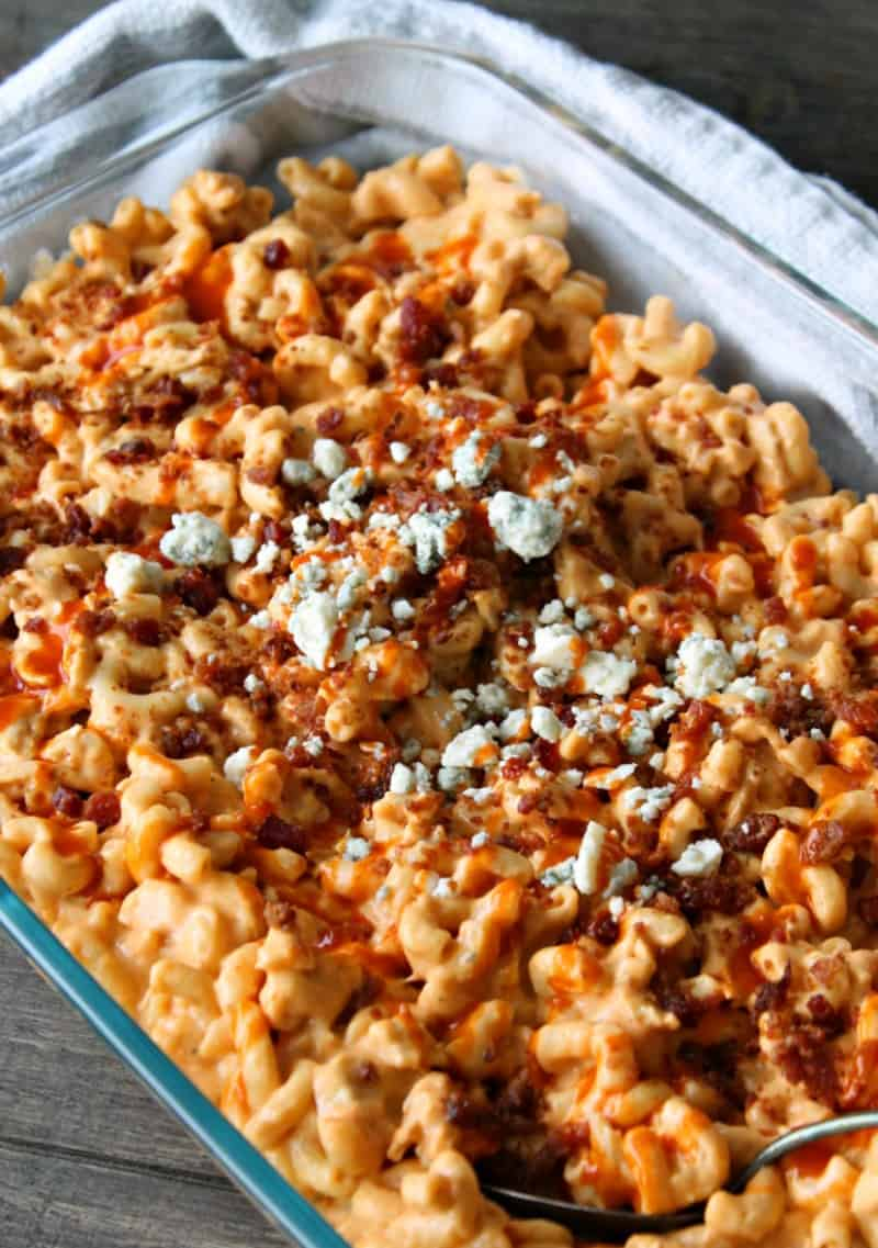 How to make Buffalo Chicken Mac and Cheese with tender chicken in a creamy, spicy 3 cheese Buffalo sauce + bacon and blue cheese.