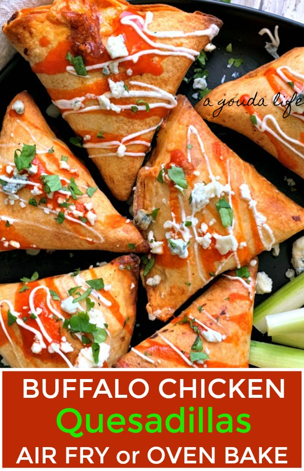 overhead view of buffalo chicken quesadillas drizzled with ranch and crumbled blue cheese