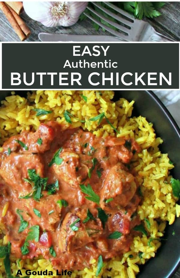 butter chicken recipe ~ overhead view of yellow jasmine rice and butter chicken garnished with fresh parsley