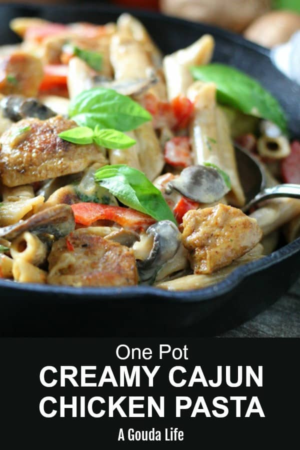 creamy cajun chicken pasta - cast iron skillet of cajun alfredo pasta, chicken, mushrooms and red bell peppers garnished with fresh basil leaves.