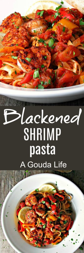 Blackened Shrimp Pasta ~ Cajun shrimp and linguine in a zesty, flavorful tomato sauce. A simple, weeknight meal that's also ideal for entertaining.
