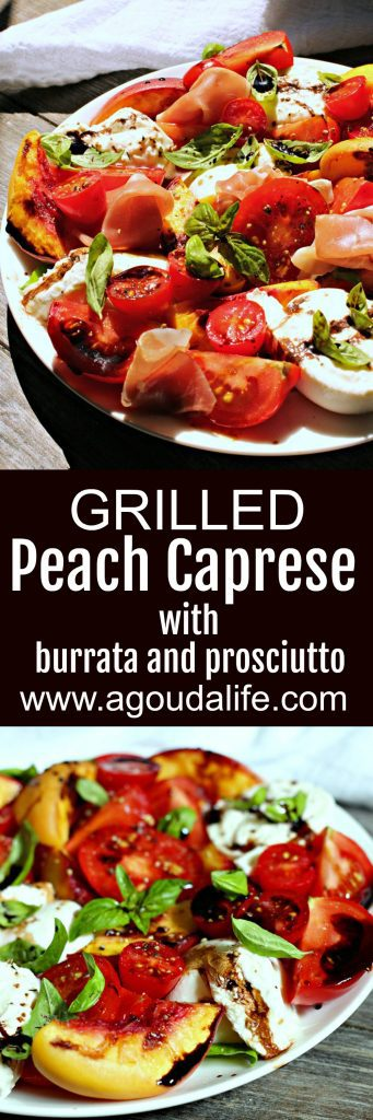 grilled peach caprese ~ pinterest pin showing grilled peach caprese salad