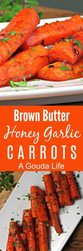 Brown Butter Honey Glazed Carrots ~ roasted until fork tender in a delicious brown butter honey-garlic sauce. Simple, step by step instructions.