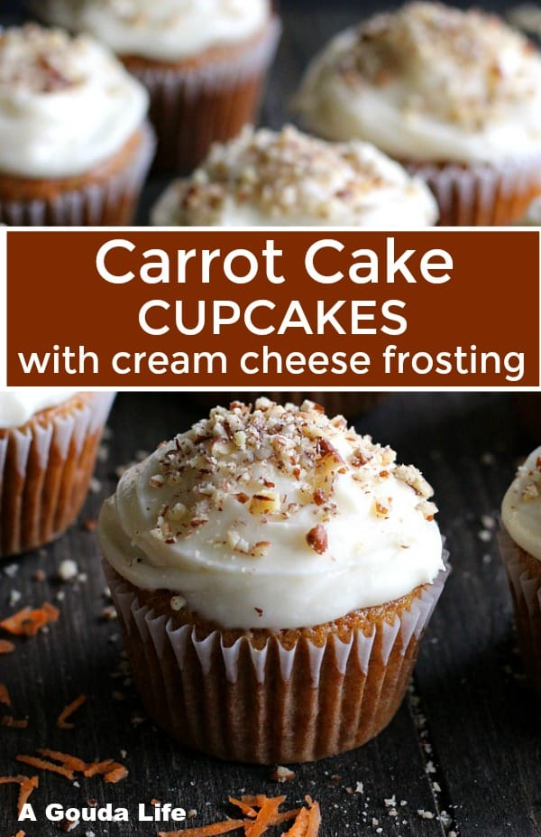 pinterest pin showing frosted carrot cupcakes decorated with crushed nuts
