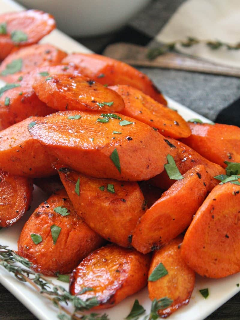Brown Butter Honey Glazed Carrots ~ tender carrots roasted and glazed in a delicious nutty, brown butter honey-garlic sauce.
