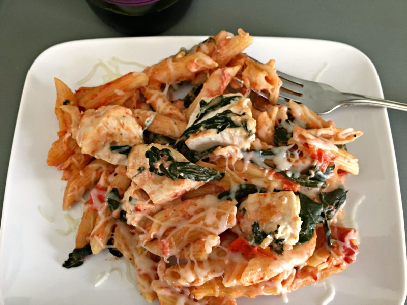 Cube the cream cheese and add it to the pasta blending until it's completely melted and combined. Cut the Hasselback Chicken into medium size chunks and add it to the pan, combining with the pasta.