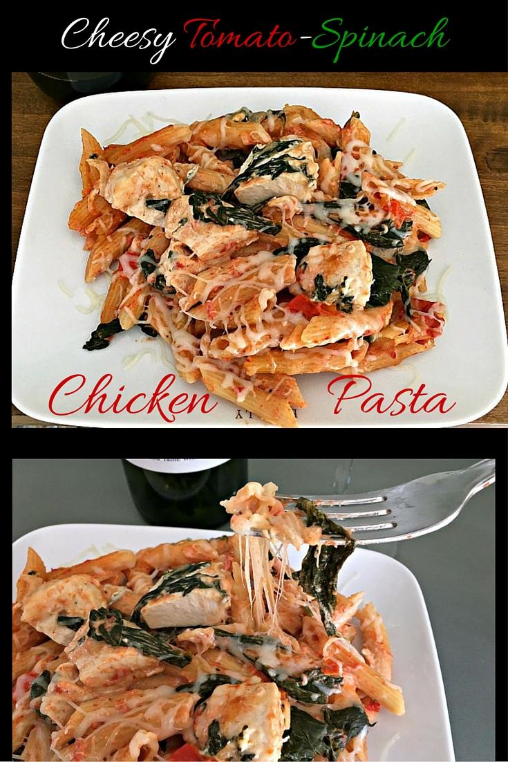 cheesy chicken tomato spinach pasta 13