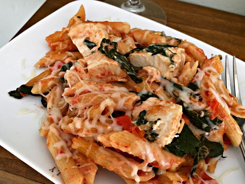 cheesy chicken tomato spinach pasta