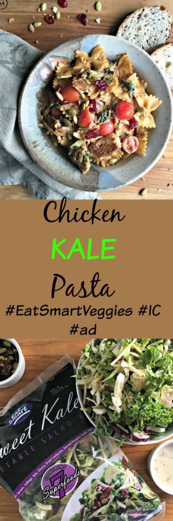Chicken Kale Pasta made with Sweet Kale Eat Smart Gourmet Vegetable Kit and a few simple ingredients for an easy, any night tasty, nutritious meal.