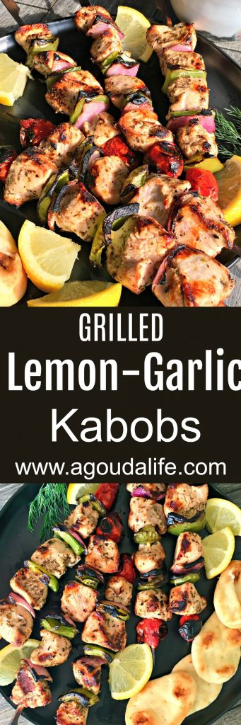 Grilled Lemon Garlic Chicken Kabobs ~ Pinterest pin showing grilled chicken kabobs with bright bell peppers and slices of lemon.